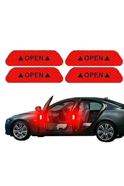 Araç Araba Oto Kapı Kırmızı Open Reflektörlü Sticker Yapıştıma