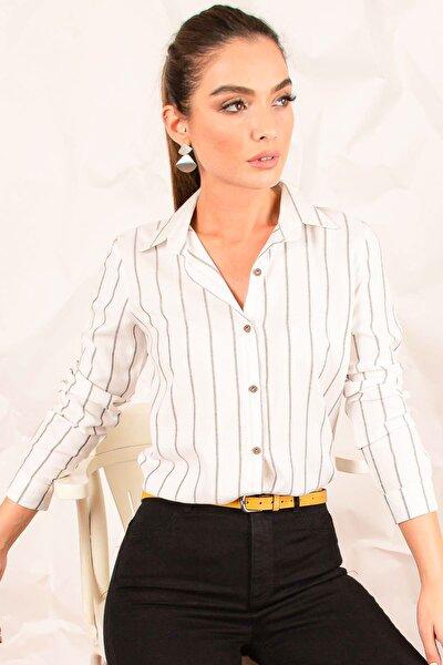 Kadın Beyaz Uzun Kol Çizgili Gömlek ARM-20K001026