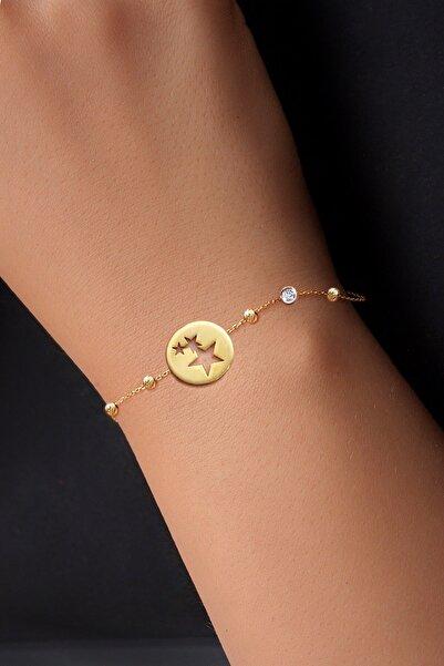 Kadın Pırlanta 14 Ayar Altın Dorika Firuze Yildizlar Bileklik DBG0003