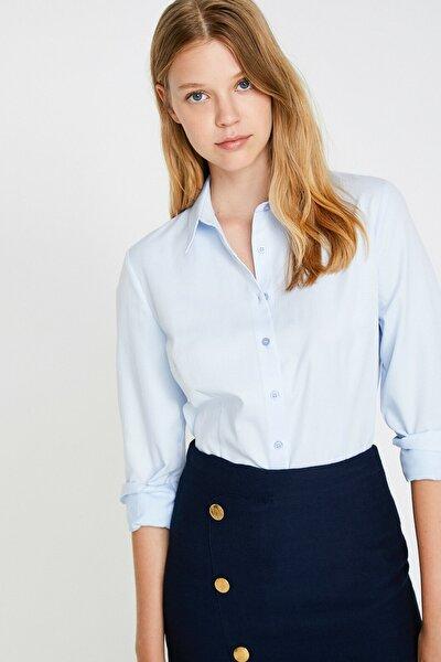 Kadın Mavi Klasik Yaka Gömlek 0KAK68009PW