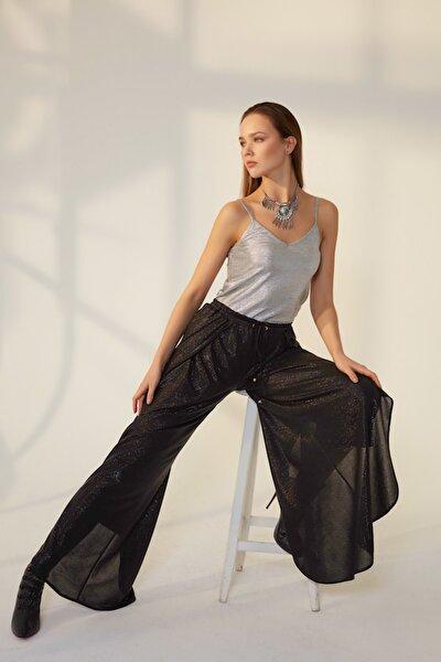Kadın Siyah Bol Paçalı Siyah Varaklı Pantolon HN1175
