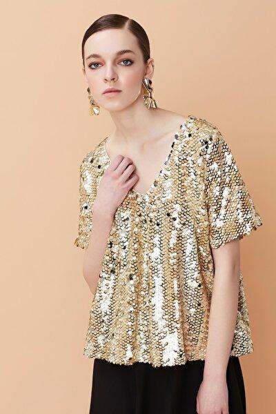 Kadın Siyah Payet Kaplama Üstlü Çift Parça Elbise IS1190002424001