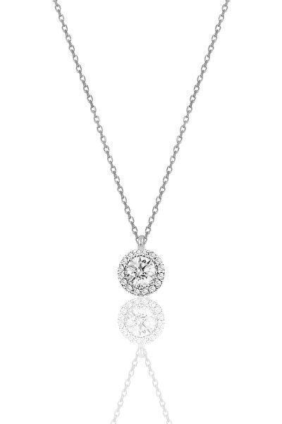 Kadın Gümüş  Pırlanta Montürlü Tek Taş Kolye SGTL9906