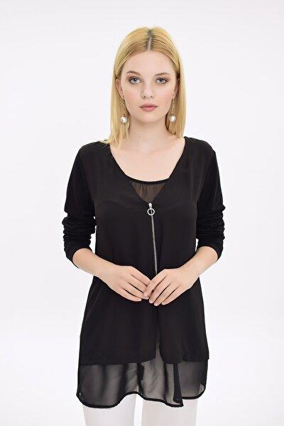 Kadın Siyah Astarlı Önden Fermuarlı Şifon Bluz HN1825