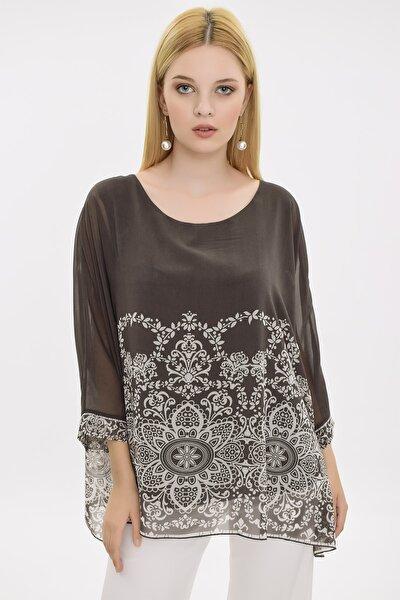 Kadın Gri Şifon Çiçek Baskılı Bluz HN2054