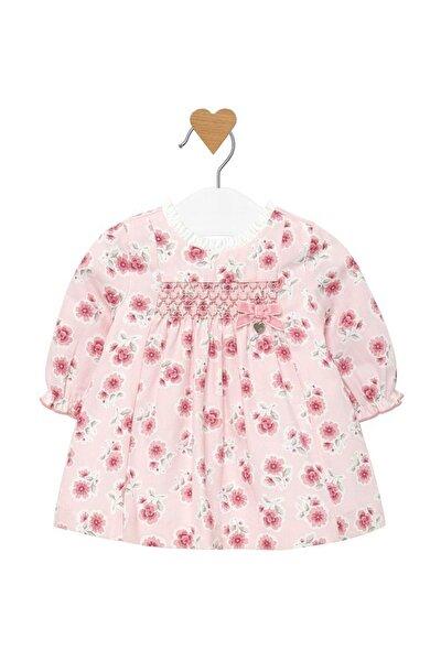 Pembe Kız Bebek Uzun Kollu Çiçekli Elbise