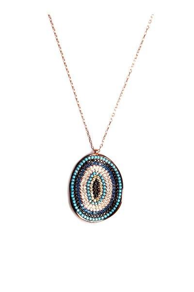 Renkli Zirkon Süslemeli Tasarım 925 Ayar Gümüş Kolye KLY-0066-34