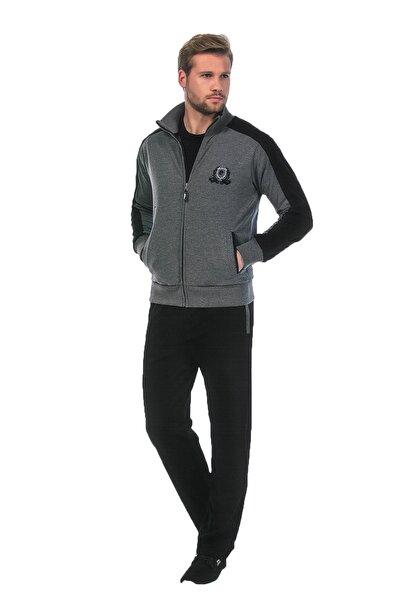 Erkek Gri Eşofman Takımı  3'lü Pijama Takımı