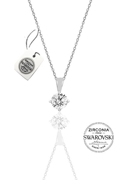 Kadın Gümüş Swarovski Tek Taş Kolye SGTL20509A