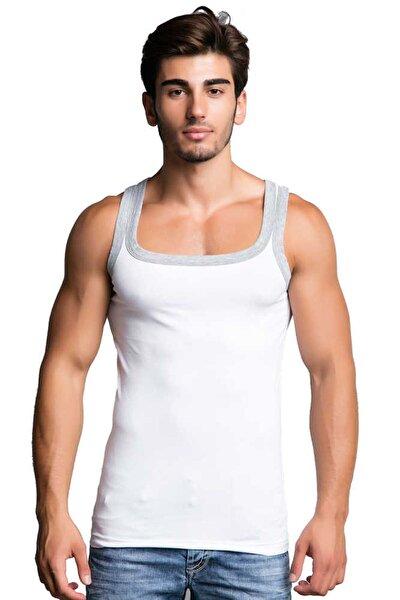 CU104 Pamuklu Slim Fit Beyaz Erkek Sporcu Atlet