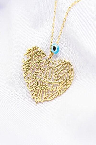 Kadın 925 Ayar Gümüş Altın Kaplama Kolye LAILLHMHMMDN-9