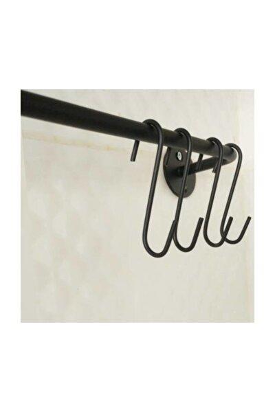 Siyah Mutfak Askısı, Metal Askılı Ferforje Vip Askı Ve Kanca Seti Fintorp Model 53cm.