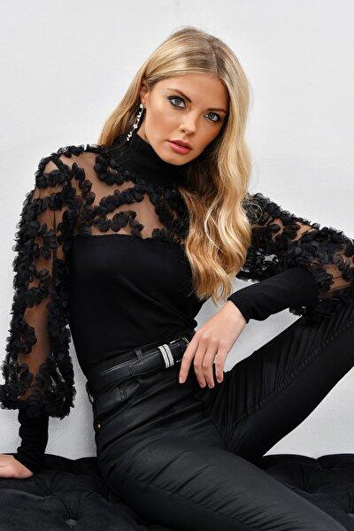 Kadın Siyah Kolları Tül Fırfır Aksesuarlı Bluz BK894