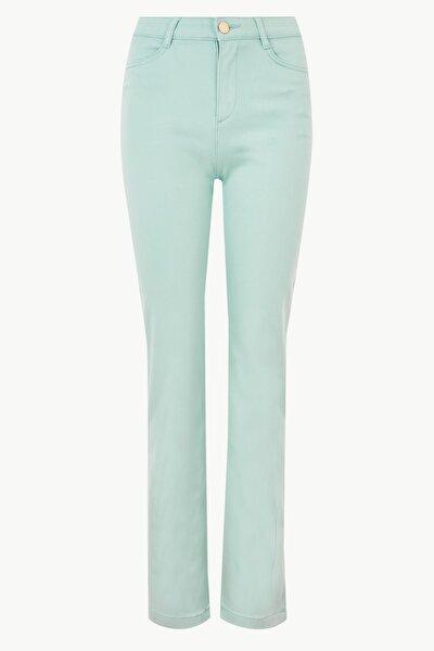 Kadın Soluk Yeşil Saten Roma Rise Düz Straight Pantolon T57001723U