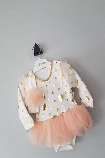 Kız Bebek 6-12 Ay Tütülü Bandanalı Kalpli Body