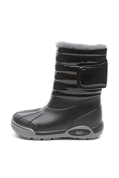 Unisex Çocuk Siyah Topo Skı Charol Kar Çizme Botu Igor W10168-002