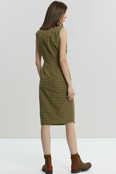 Kadın Yeşil Desenli Dik Yakalı Elbise 9KKEL7130A