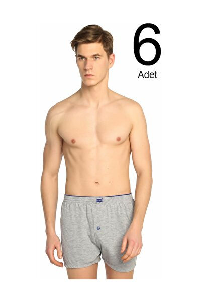 Penye Düğmeli Erkek Boxer 6'lı Paket