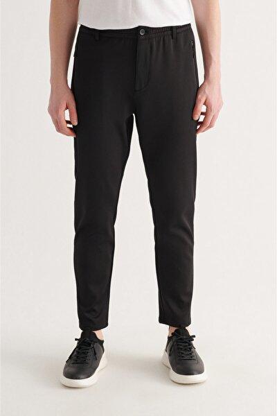 Erkek Siyah Yandan Su Geçirmez Fermuarlı Armürlü Relaxed Fit Pantolon A11y3004