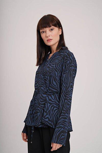 Kadın Indigo Zebra Desenli Bluz  19KGMZL1012021