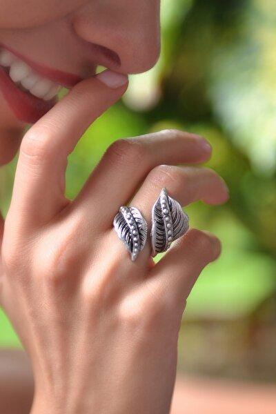 Kadın Antik Gümüş Kaplama Yaprak Yüzük STY0263