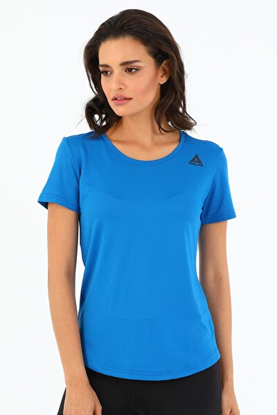 Kadın Mavi Bisiklet Yaka Sporcu T-Shirt