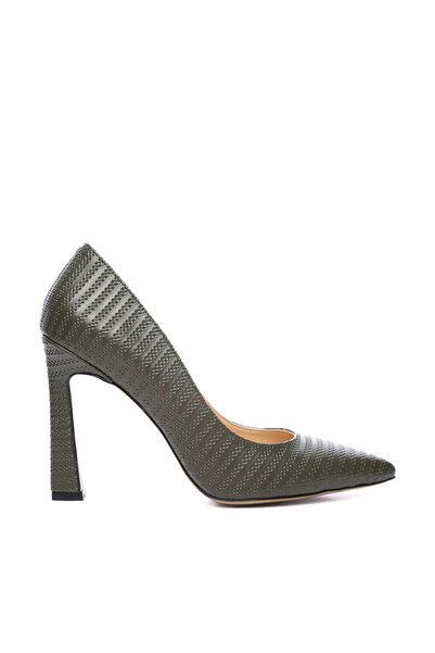 Hakiki Deri Yeşil Kadın Stiletto Ayakkabı 22 943 BN AYK