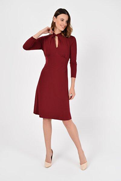 Kadın Bordo Yakada Burgu Detay Elbise 19L6720