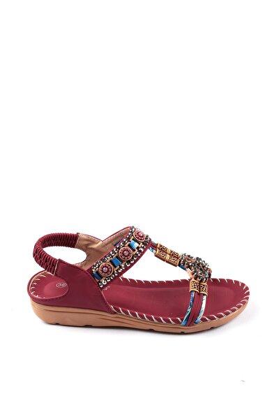 Bordo Kadın Sandalet 19Y100-1-B