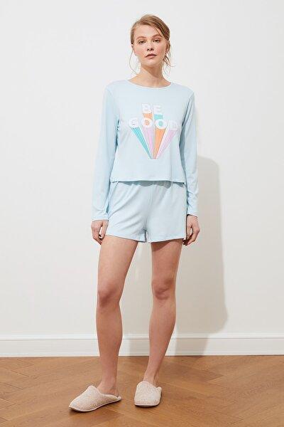 Açık Mavi Baskılı Örme Pijama Takımı THMSS21PT0342