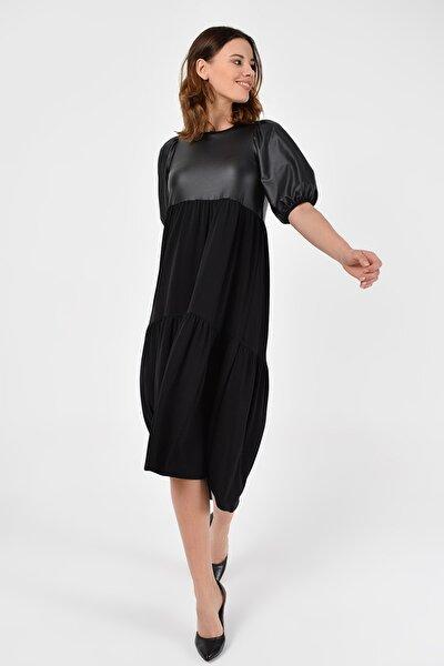 Kadın Siyah Asimetrik Deri Detay Elbise 19L6698