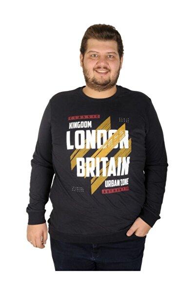 Büyük Beden Erkek Sweatshirt London Britain 19133 Lacivert