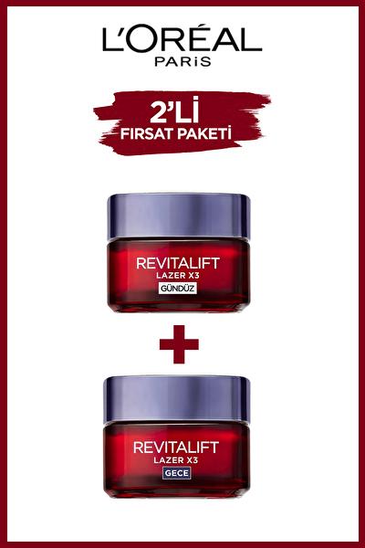 L'Oréal Paris Revitalift Lazer X3 Yoğun Yaşlanma Karşıtı Gündüz Bakım Kremi + Gece Bakım Kremi 50 ml