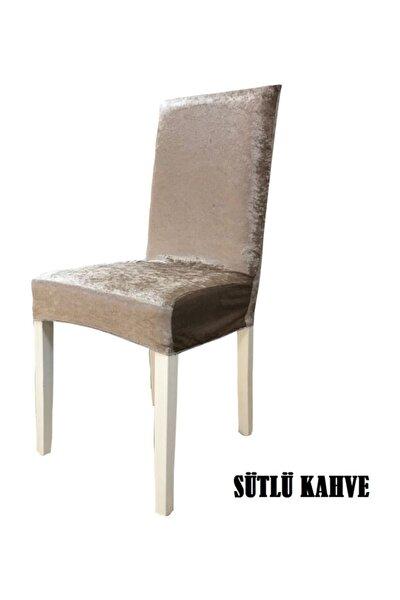 Ipek Kadife Likralı Sandalye Kılıfı  6 Lı Paket Sütlü Kahve
