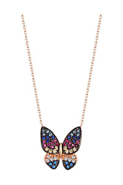 Kadın Renk Geçişli Kelebek Kolye