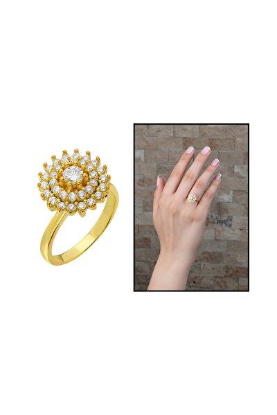Üç Sıra Zirkon Taşlı Halka Tasarım Gold Renk 925 Ayar Gümüş Kadın Yüzük 102001604