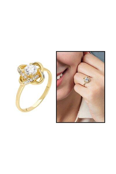 Zirkon Tektaşlı Samanyolu Tasarım Gold Renk 925 Ayar Gümüş  Yüzük 102001757