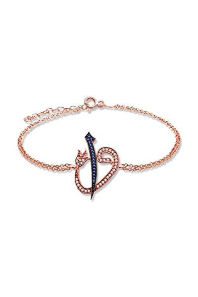 Kadın 925 Ayar Elif Vav Rose Gümüş Bileklik