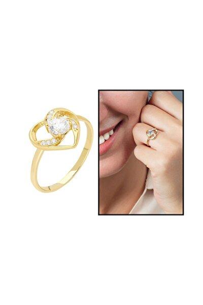 Zirkon Tektaşlı Kalp Tasarım Gold Renk 925 Ayar Gümüş  Yüzük 102001754