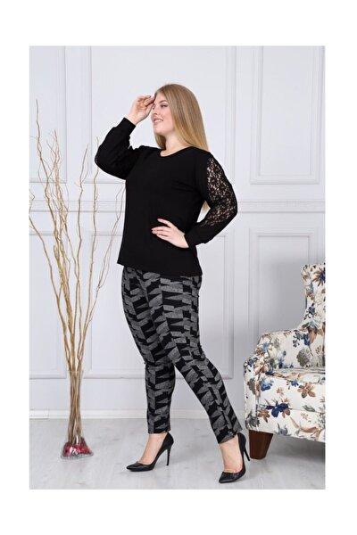 Kadın Dantel Detaylı Uzun Kollu Bluz