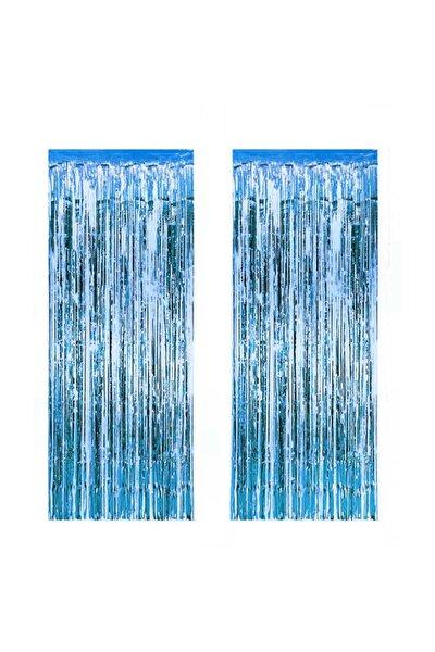 2 Adet Kapı Perdesi Kapı Banner Fon Süsü Metalize Mavi