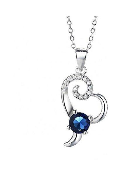 Gümüş Safir Taşlı Kalp Bayan Gümüş Kolye