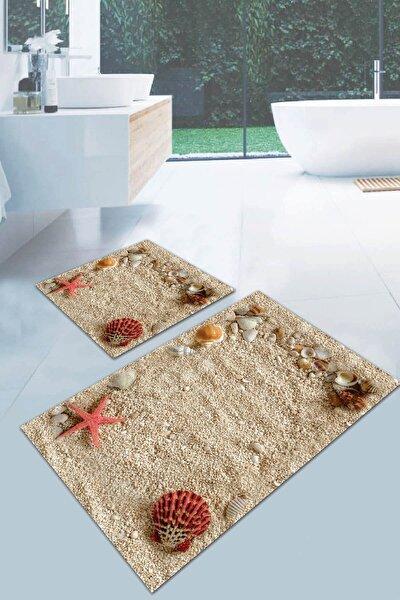 60x90 - 60x60 Dijital Banyo Halısı Klozet Takımı 2'li Paspas Seti Bs041