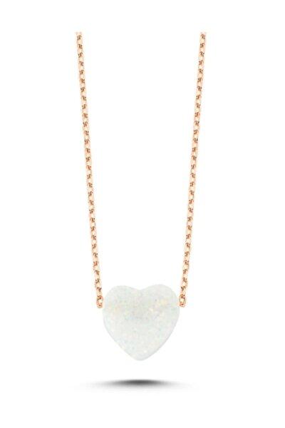 925 Ayar Gümüş, Rose Altın Kaplama, Opal Taşlı, Kalp Kolye