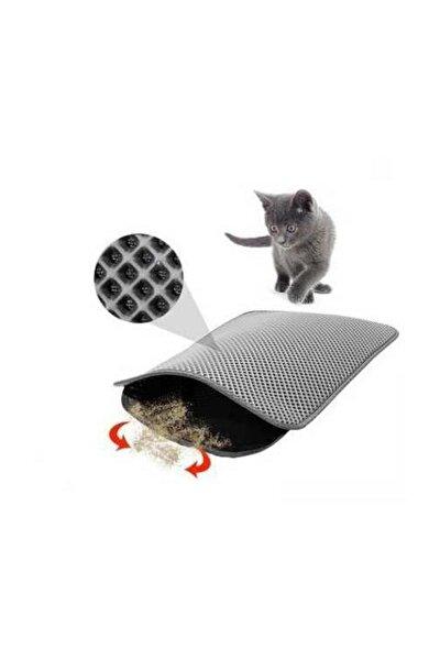 Elekli Kedi Tuvalet Önü Paspası 60 x 45 cm Gri