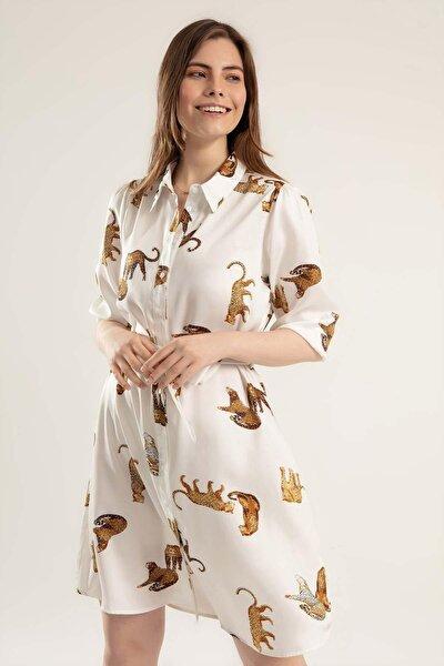 Kadın Kuşaklı Saten Gömlek Elbise Y20s110-1945