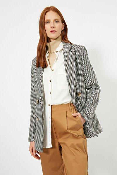 Kadın Gri Kareli Ceket