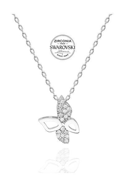 Swarovski Taşlı Gümüş Kelebek Kolye