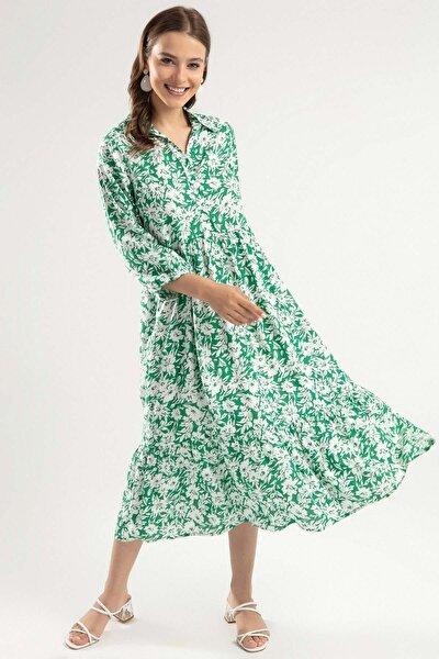 Kadın Çiçek Desenli Volanlı Uzun Elbise Y20s110-1980