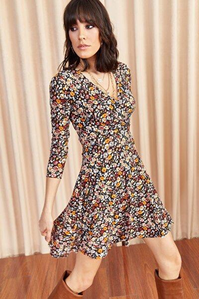 Kadın Multi Renkli Çiçekli Kruvaze Elbise ELB-19000960